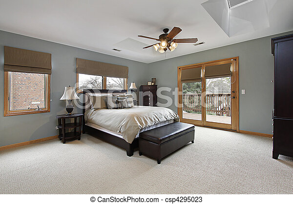 Master bedroom with outside deck - csp4295023