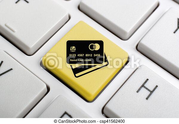 Yellow Master Card Symbol Key On Keyboard Stock Illustration