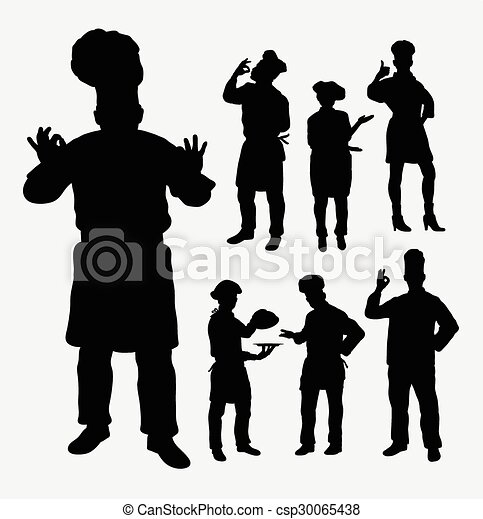 master chef silhouettes master chef hobby and profession vectors rh canstockphoto com Chef Hat Clip Art Black Chef Silhouette