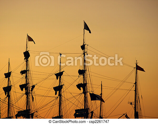 Masts at sunset - csp2261747