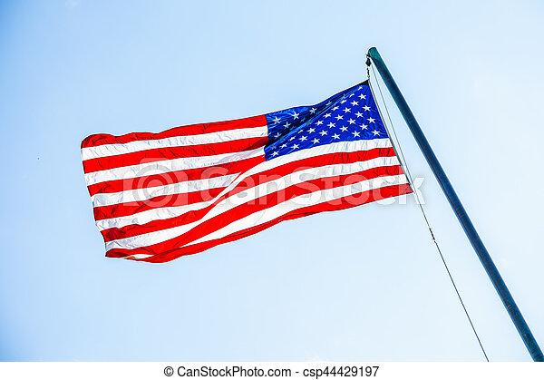 maszt flagowy, amerykańska bandera - csp44429197