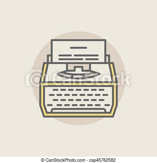 maszyna do pisania, barwny, ikona - csp45762582