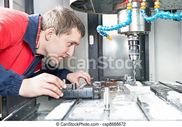maszyna, pracownik, operowanie, cnc, środek - csp8688672