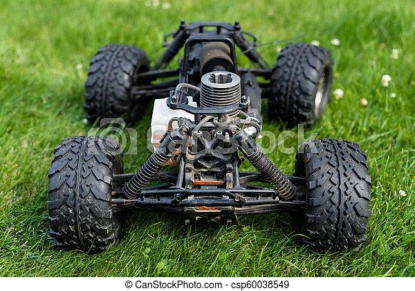 maszyna, reputacja, spalanie, nitro, wóz, jeden, radio-controlled, grass., wewnętrzny, zielony, walec, opał - csp60038549