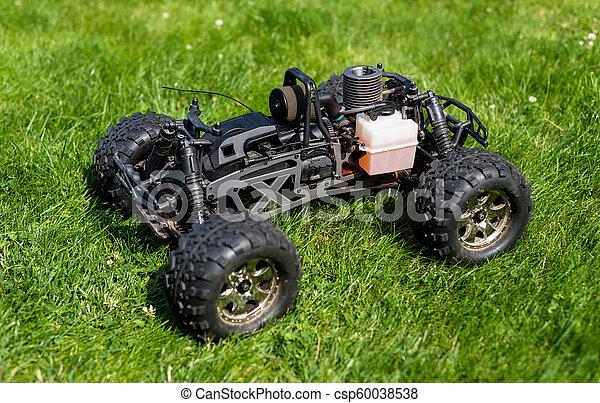 maszyna, reputacja, spalanie, nitro, wóz, jeden, radio-controlled, grass., wewnętrzny, zielony, walec, opał - csp60038538