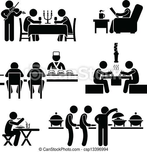 mat, cafe, dricka, restaurang - csp13396994