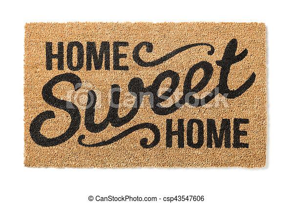 mat, zoet, welkom, vrijstaand, thuis, witte  - csp43547606