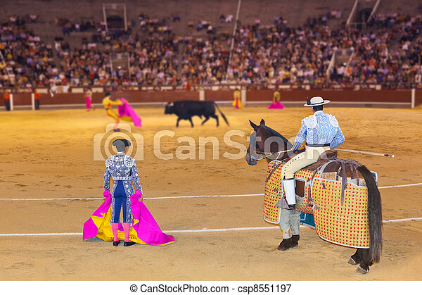 Matador and bull in bullfighting at Madrid - csp8551197