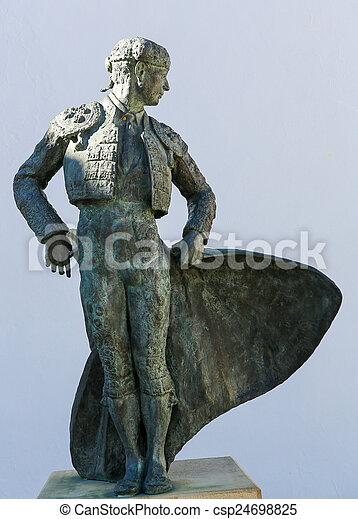 Matador Ordenez statue in Ronda, Andalusia, Spain - csp24698825