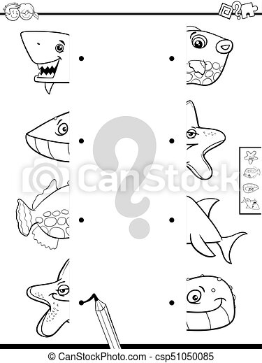Match animal halves coloring book. Black and white cartoon ...