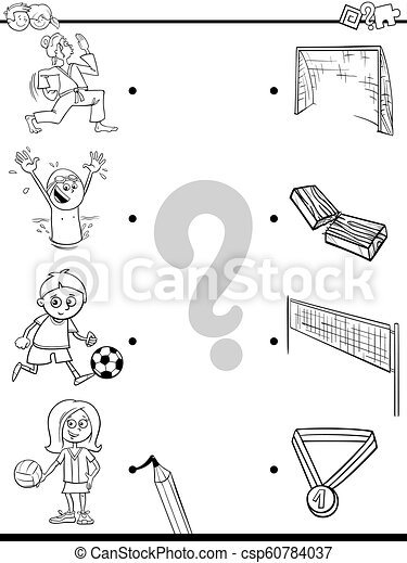 Match Children And Sport Activities Color Book Black And White Cartoon Illustration Of Educational Pictures Matching Game