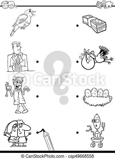Match objects educational coloring book. Black and white cartoon ...