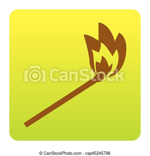 Match sign illustration. Vector. Brown icon at green-yellow gradient square with rounded corners on white background. Isolated. - csp45245796