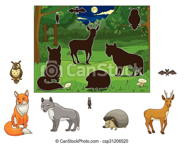 Match the animals to their shadows - csp31206520