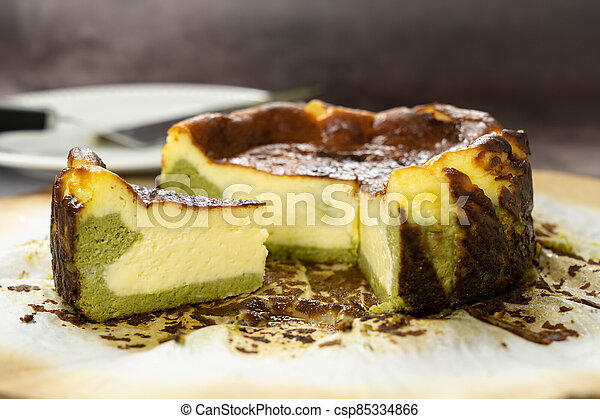 Matcha Basque Burnt Cheesecake Basque Matcha Burnt Cheesecake Freshly Bake From Oven Canstock