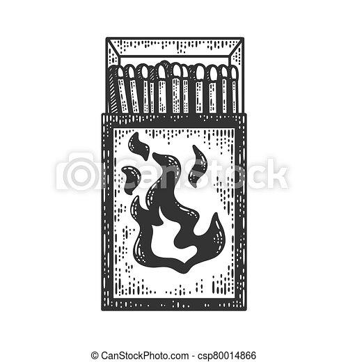 Matchbox sketch engraving vector illustration. T-shirt apparel print design. Scratch board imitation. Black and white hand drawn image. - csp80014866