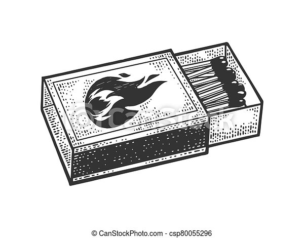 Matchbox sketch engraving vector illustration. T-shirt apparel print design. Scratch board imitation. Black and white hand drawn image. - csp80055296