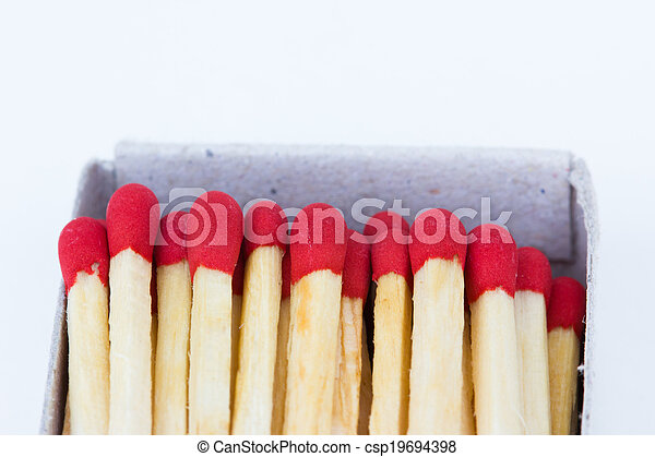 matches in box isolated on white background - csp19694398