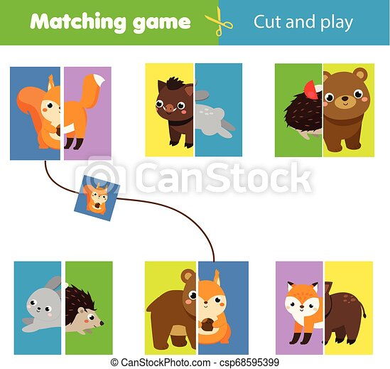 Matching Children Educational Game Match Parts Of Forest Animals Learning Symmetry For Kids And Toddlers