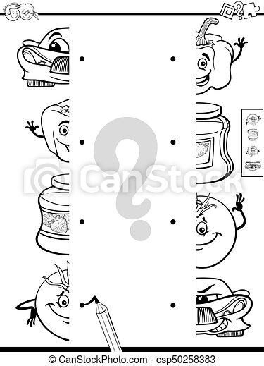 matching halves activity coloring page - csp50258383