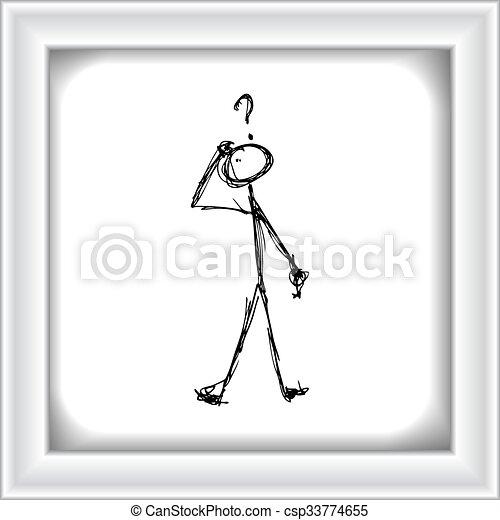 Matchstick man with a question - csp33774655