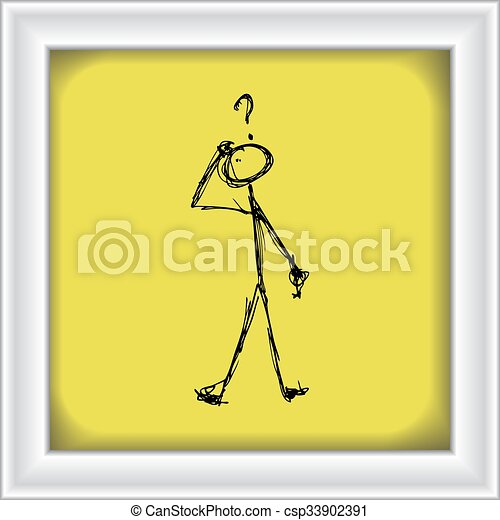 Matchstick man with a question - csp33902391