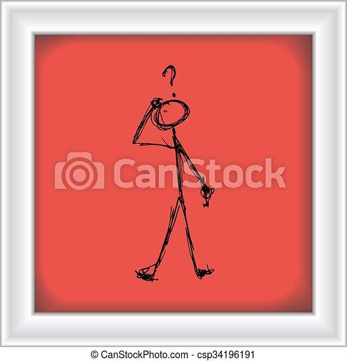 Matchstick man with a question - csp34196191