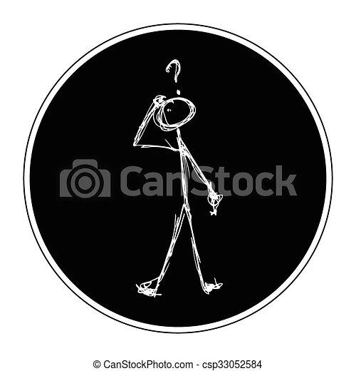 Matchstick man with a question - csp33052584