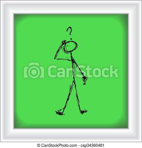 Matchstick man with a question - csp34360481