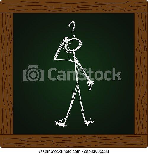 Matchstick man with a question - csp33005533