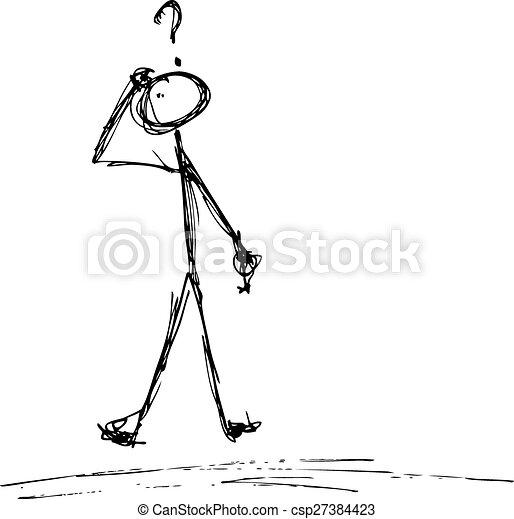 Matchstick man with a question - csp27384423