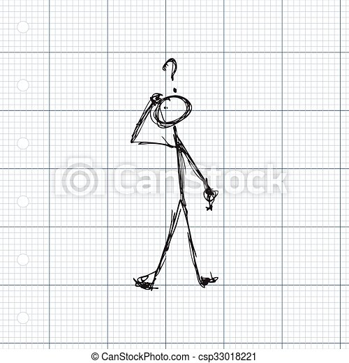 Matchstick man with a question - csp33018221