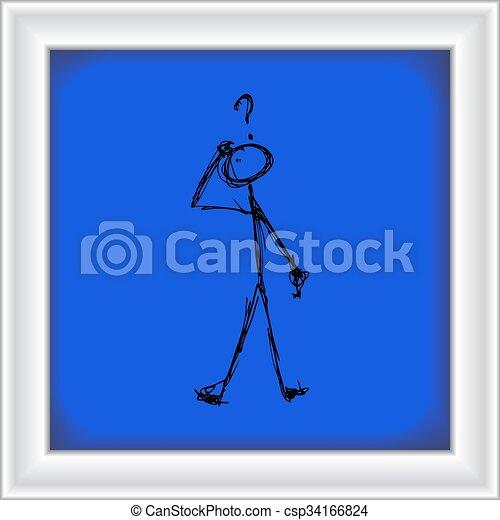 Matchstick man with a question - csp34166824