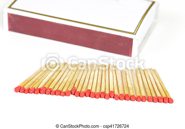 Matchsticks and box on isolated background - csp41726724