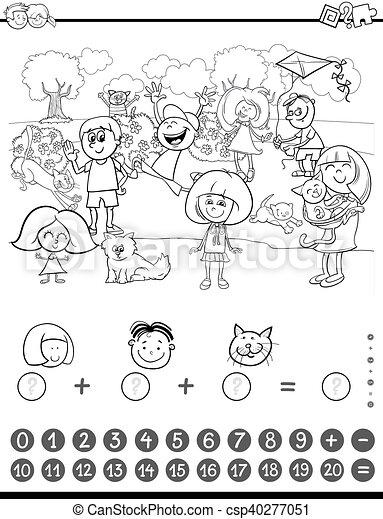 Matemáticas, libro colorear, actividad. Matemático, colorido ...