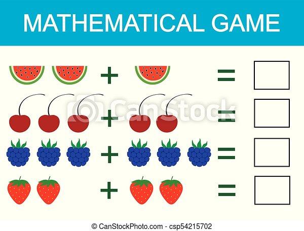 Juego matemático para niños. Aprendiendo adición para niños, contando actividad. Ilustración de vectores - csp54215702