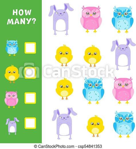 Juego matemático educativo para niños. Cuántos animales calculan. Ilustración de vectores. - csp54841353
