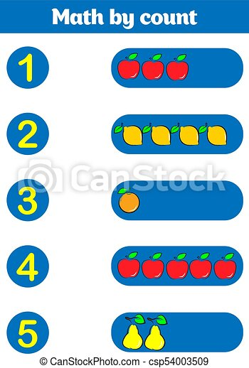 Contando juego para niños de preescolar. Educación un juego matemático. - csp54003509