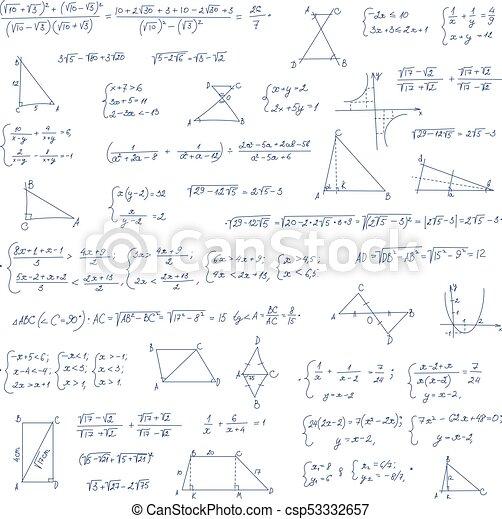 Ecuación matemática hecha a mano con fórmulas de álgebra escritas a mano - csp53332657