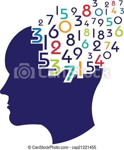 Concepto del logotipo matemático cerebral - csp21221455