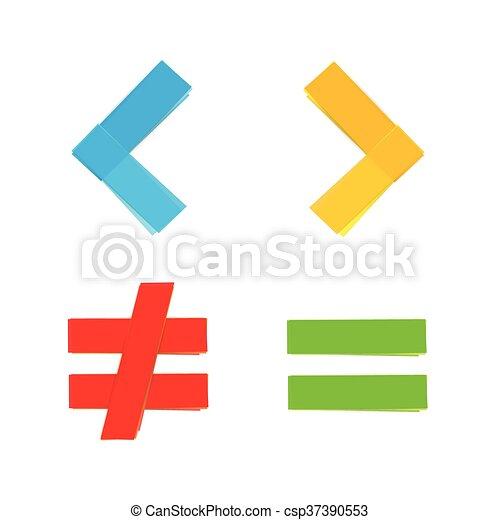 Los símbolos matemáticos básicos equivalen a menos - csp37390553