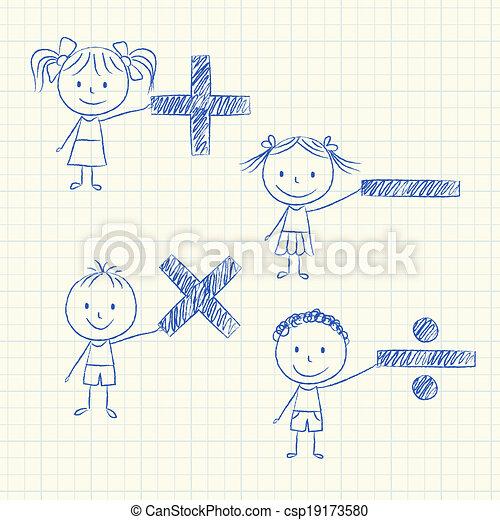 Niños con signos matemáticos - csp19173580