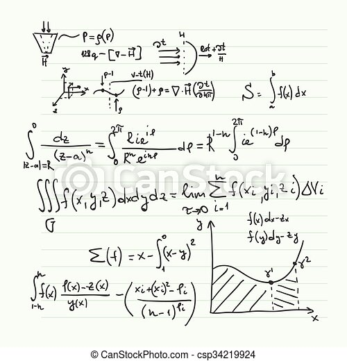 Matemático, patrón, fórmulas. Matemático, vector, hoja, científico ...