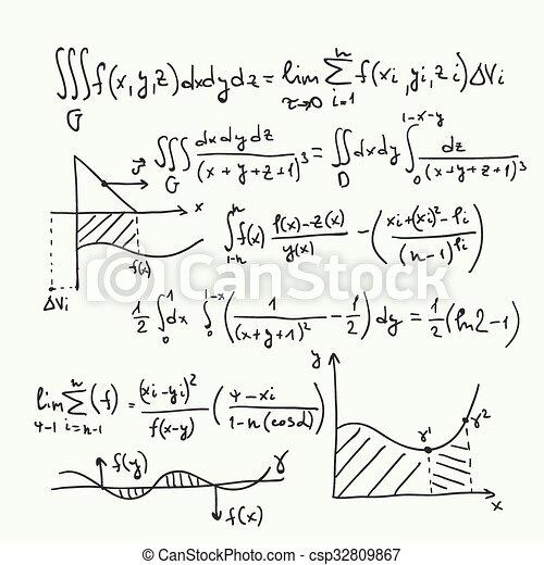Patrón vector con fórmulas matemáticas - csp32809867
