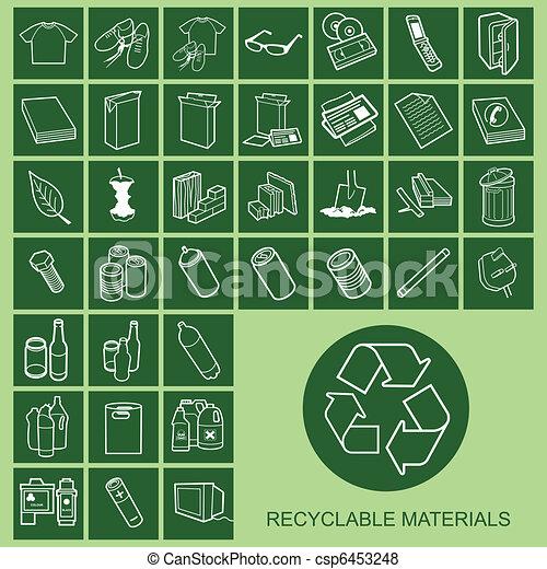 material reciclável, ícones - csp6453248