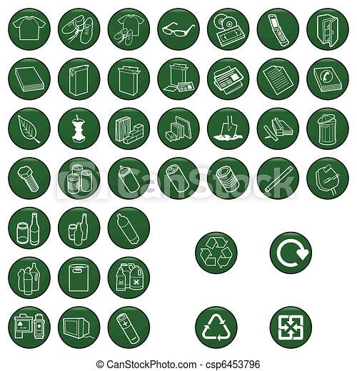 material reciclable, conjunto, icono - csp6453796