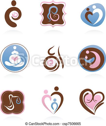 maternité, collection, icônes - csp7506665