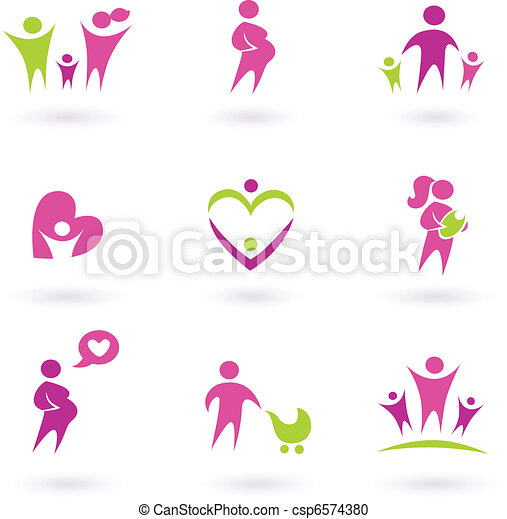 Maternity, pregnancy and health icons isolated on white - pink,  - csp6574380