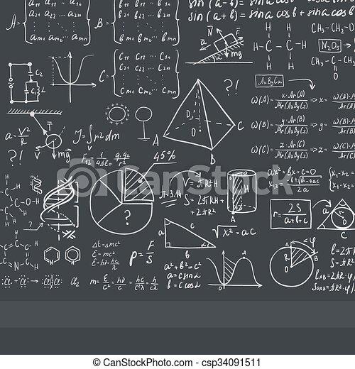 Fabuleux Clipart Vecteur de mathématique, tableau noir, blanc, equations  MP41