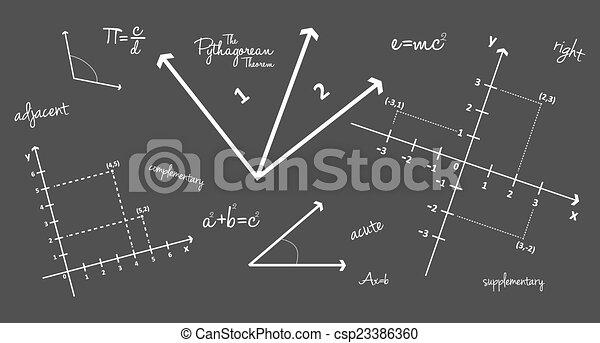 mathématique, géométrie, signes - csp23386360